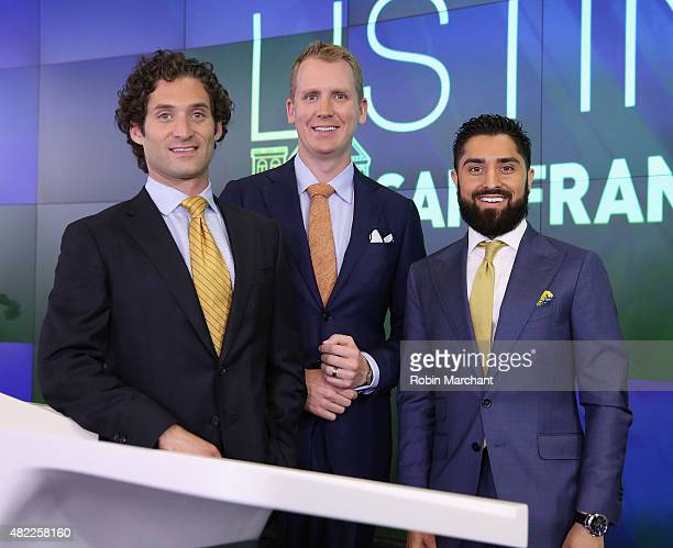 Justin Fichelson Andrew Greenwell and Roh Habibi attend the Million Dollar Listing San Francisco Ring The Nasdaq Stock Market Opening Bell at NASDAQ...