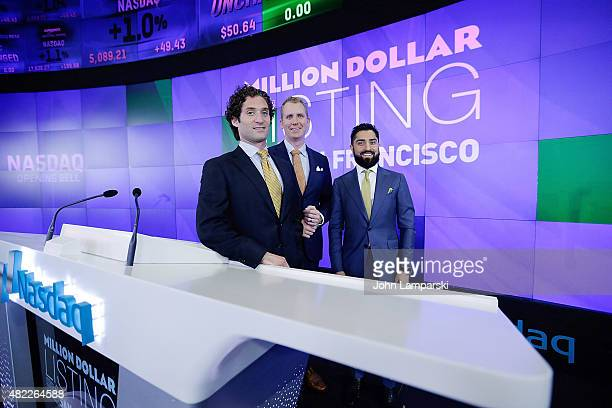 Justin Fichelson Andrew Greenwell and Roh Habibi ring the Nasdaq Stock Market opening bell celebrating the Million Dollar Listing San Francisco...