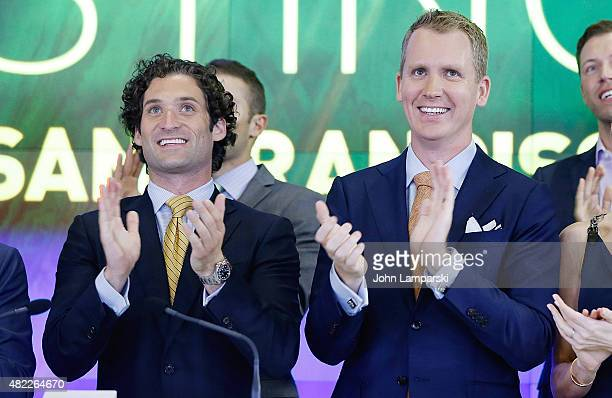 Justin Fichelson Andrew Greenwell ring the Nasdaq Stock Market opening bell celebrating the Million Dollar Listing San Francisco during opening bell...