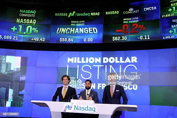 Justin Fichelson Roh Habibi and Andrew Greenwell attend Million Dollar Listing San Francisco Rings The Nasdaq Stock Market Opening Bell at NASDAQ...