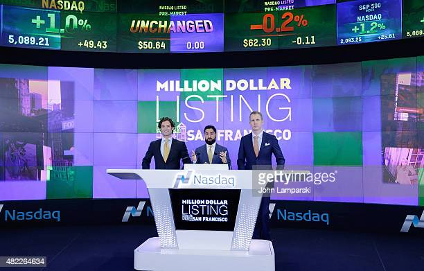 Justin FichelsonRoh Habibi and Andrew Greenwell ring the Nasdaq Stock Market opening bell celebrating the Million Dollar Listing San Francisco during...
