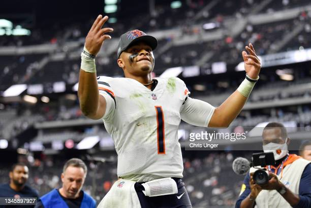 Justin Fields of the Chicago Bears celebrates a win against the Las Vegas Raiders at Allegiant Stadium on October 10, 2021 in Las Vegas, Nevada.