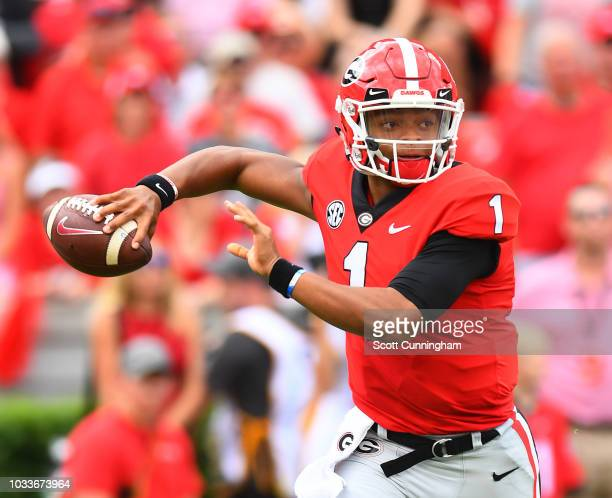 Justin Fields of the Georgia Bulldogs passes against the Middle Tennessee Blue Raiders on September 15 2018 at Sanford Stadiuym in Athens Georgia