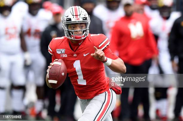 Justin Fields of the Ohio State Buckeyes drops back to pass against the Maryland Terrapins at Ohio Stadium on November 9 2019 in Columbus Ohio