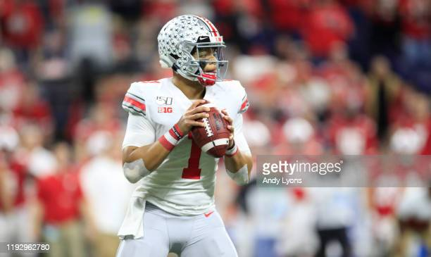 Justin Fields of the Ohio State Buckeyes in the BIG Ten Football Championship Game against the Wisconsin Badgers at Lucas Oil Stadium on December 07...