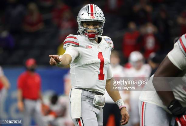 Justin Fields of the Ohio State Buckeyes in the second half against the Clemson Tigers during the College Football Playoff semifinal game at the...