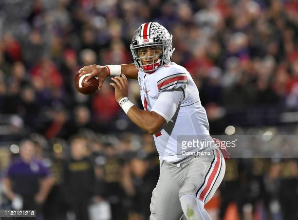 Justin Fields of the Ohio State Buckeyes looks to pass the football against the Northwestern Wildcats at Ryan Field on October 18 2019 in Evanston...