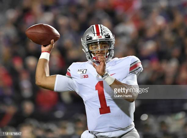 Justin Fields of the Ohio State Buckeyes passes the football in the third quarter against the Northwestern Wildcats at Ryan Field on October 18 2019...