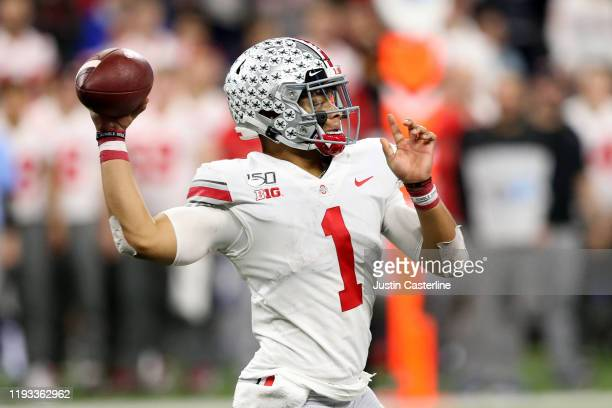 Justin Fields of the Ohio State Buckeyes throws a pass in the Big Ten Championship game against the Ohio State Buckeyes at Lucas Oil Stadium on...