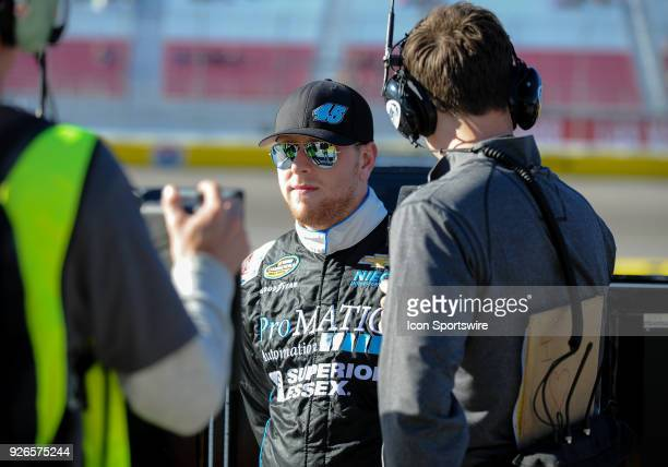 Justin Fontaine driver of the ProMatic Automation Chevrolet talks for an interview during the Startosphere 200 qualifying on March 2 2018 at Las...