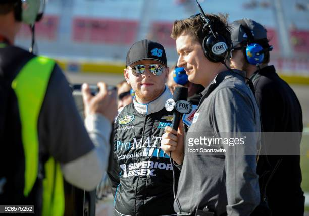 Justin Fontaine driver of the ProMatic Automation Chevrolet talks with Fox for an interview during the Startosphere 200 qualifying on March 2 2018 at...