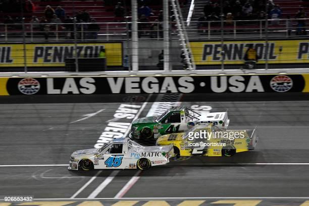 Justin Fontaine Niece Motorsports Chevrolet Silverado Cody Coughlin GMS Racing Chevrolet Silverado and Ben Rhodes ThorSport Ford F150 go three wide...