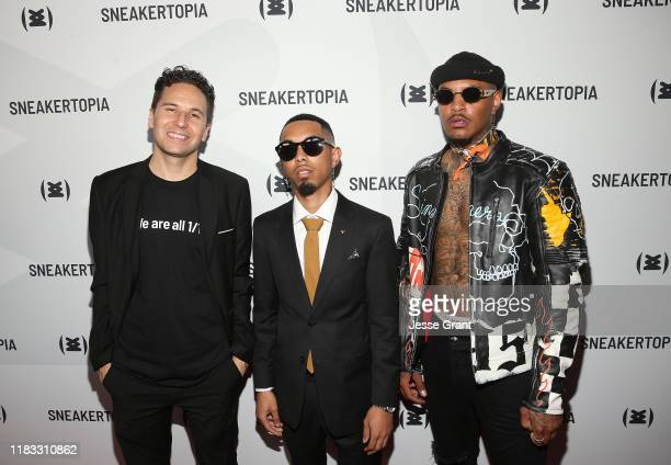 Justin Fredericks McFlyy and FrankHaveMercy attend the Sneakertopia Los Angeles VIP Preview at HHLA on October 24 2019 in Los Angeles California