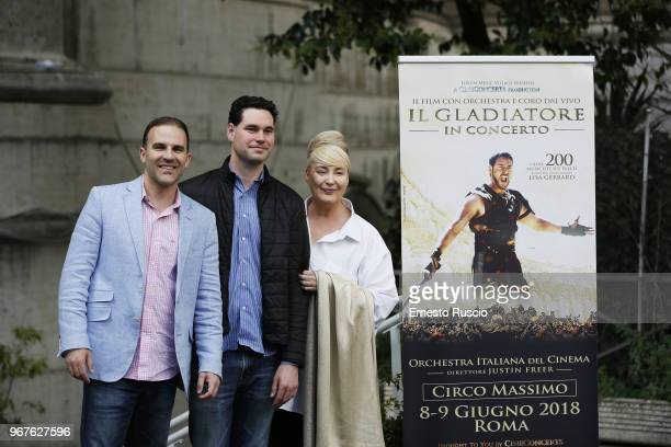 Justin Freer Brady Beaubein and Lisa Gerrard attend the 'Il Gladiatore In Concerto' presentation at Teatro Euclide on June 5 2018 in Rome Italy