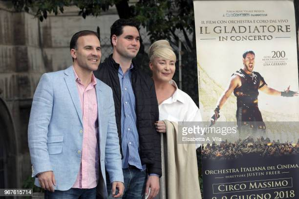 Justin Freer Brady Beaubien and Lisa Gerrard attend the 'Il Gladiatore In Concerto' presentation on June 5 2018 in Rome Italy