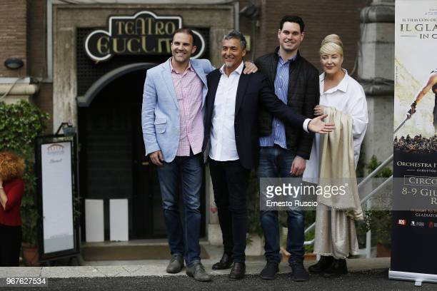 Justin Freer Marco Patrignani Brady Beaubein and Lisa Gerrard attend the 'Il Gladiatore In Concerto' presentation at Teatro Euclide on June 5 2018 in...