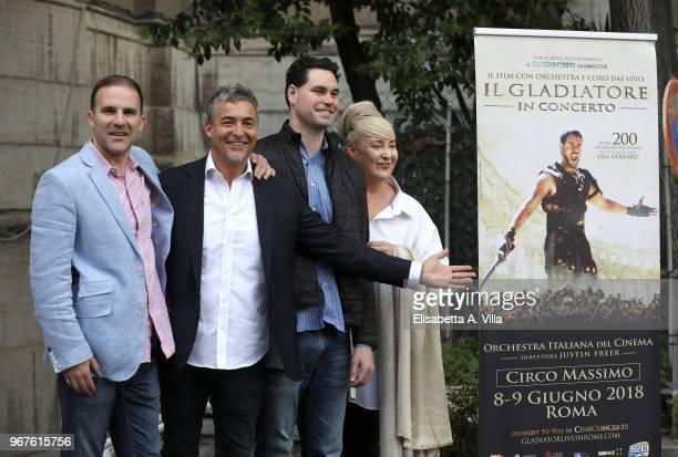 Justin Freer Marco Patrignani Brady Beaubien and Lisa Gerrard attend the 'Il Gladiatore In Concerto' presentation on June 5 2018 in Rome Italy