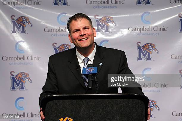 Justin Fuente of the Memphis Tigers speaks during a press conference introducing him as the new head football coach on December 8 2011 at the...