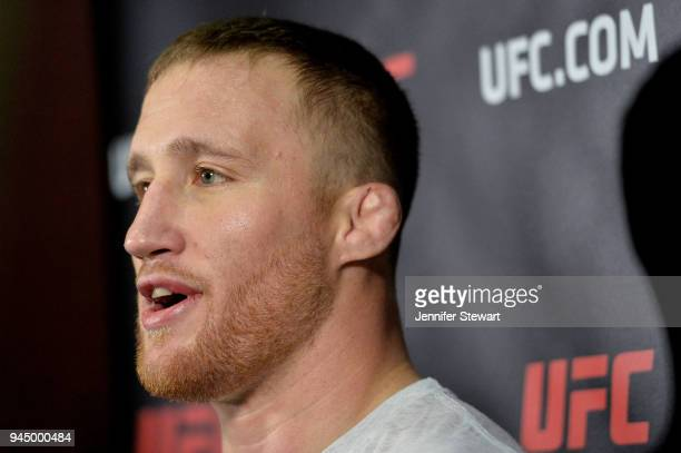 Justin Gaethje addresses the media during an open workout for fans and media at Gila River Arena on April 11 2018 in Glendale Arizona