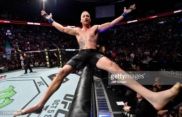 Justin Gaethje celebrates after defeating Donald Cerrone in their lightweight bout during the UFC Fight Night event at Rogers Arena on September 14...
