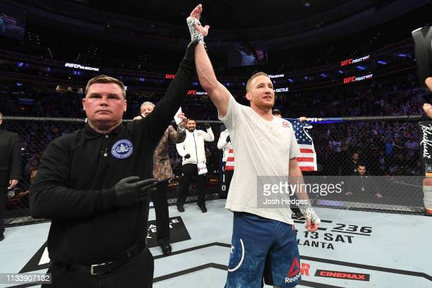 Justin Gaethje celebrates after defeating Edson Barboza of Brazil by KO in their lightweight bout during the UFC Fight Night event at Wells Fargo...