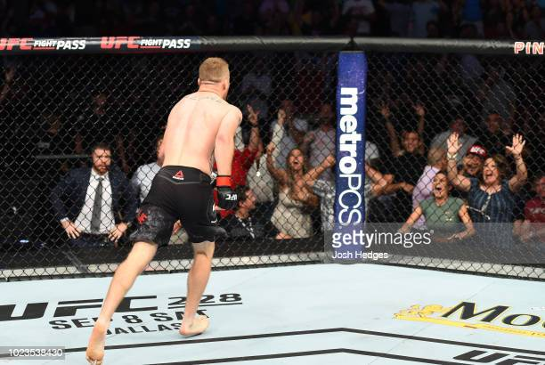 Justin Gaethje celebrates after his knockout victory over James Vick in their lightweight fight during the UFC Fight Night event at Pinnacle Bank...