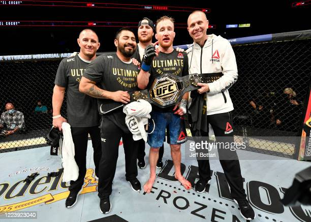 Justin Gaethje celebrates after his TKO victory over Tony Ferguson in their UFC interim lightweight championship fight during the UFC 249 event at...