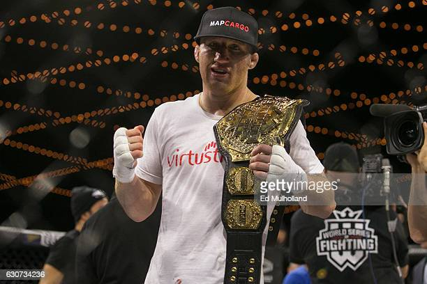 Justin Gaethje celebrates his win over challenger Luis Firmino after their World Series of Fighting lightweight championship fight at The Theater at...