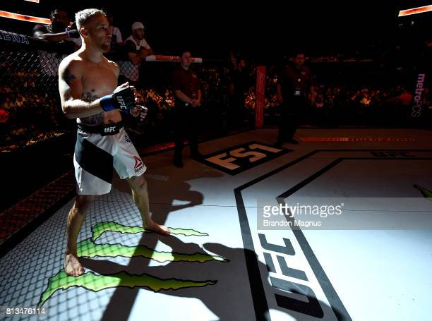Justin Gaethje enters the Octagon before facing Michael Johnson after their lightweight bout during The Ultimate Fighter Finale at TMobile Arena on...