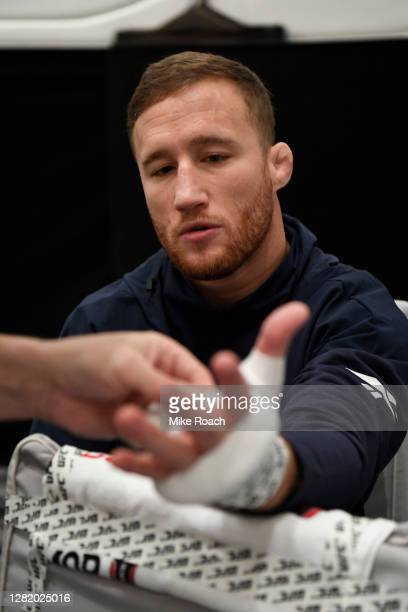 Justin Gaethje has his hands wrapped backstage during the UFC 254 event on October 24, 2020 on UFC Fight Island, Abu Dhabi, United Arab Emirates.