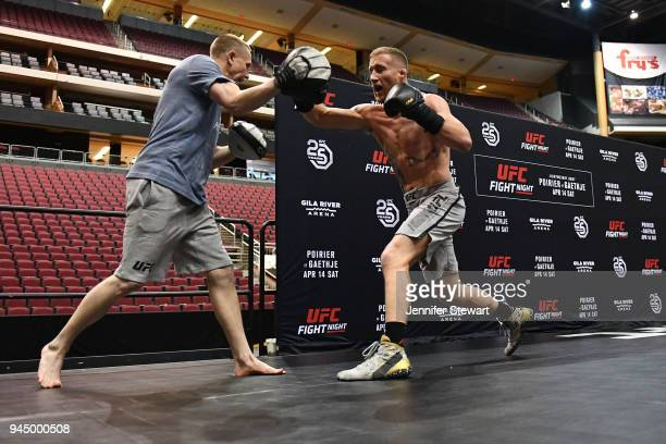 Justin Gaethje holds an open workout for fans and media at Gila River Arena on April 11 2018 in Glendale Arizona