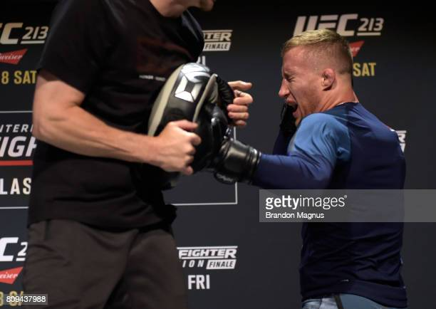 Justin Gaethje holds an open workout session for fans and media at Park Theater on July 5 2017 in Las Vegas Nevada