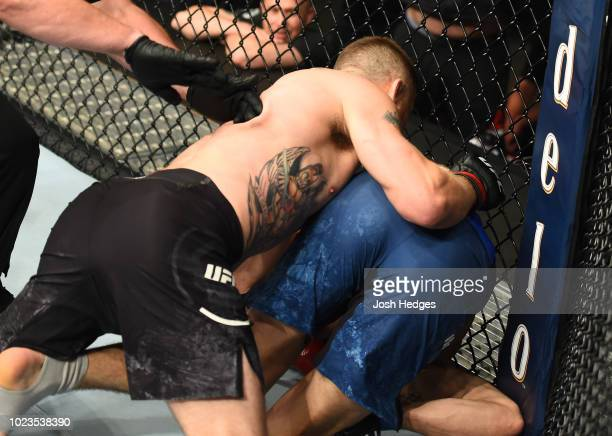 Justin Gaethje knocks out James Vick in their lightweight fight during the UFC Fight Night event at Pinnacle Bank Arena on August 25 2018 in Lincoln...