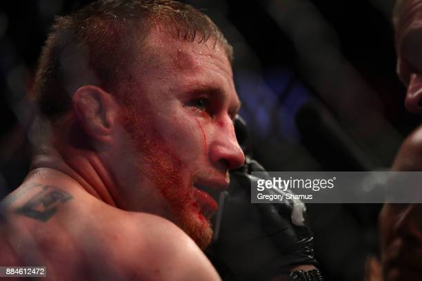 Justin Gaethje looks on during his fight with Eddie Alvarez during UFC 218 at Little Ceasars Arena on December 2 2018 in Detroit Michigan