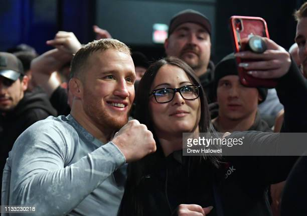 Justin Gaethje poses for a photo with fans prior to his lightweight fight against Edson Barboza at 2300 Arena on March 27 2019 in Philadelphia...