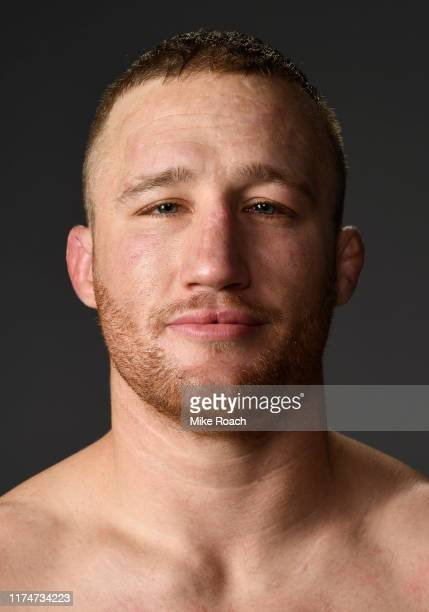 Justin Gaethje poses for a portrait backstage after defeating Donald Cerrone during the UFC Fight Night event at Rogers Arena on September 14 2019 in...