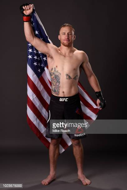 Justin Gaethje poses for a portrait backstage after his victory over James Vick during the UFC Fight Night event at Pinnacle Bank Arena on August 25...