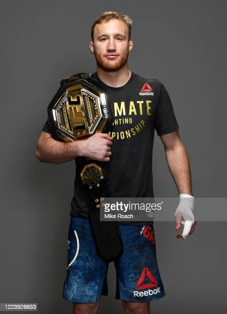 Justin Gaethje poses for a portrait backstage after his victory during the UFC 249 event at VyStar Veterans Memorial Arena on May 09 2020 in...