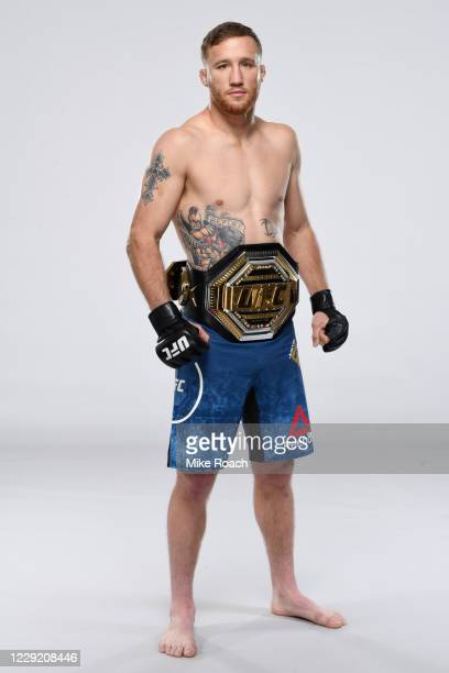 Justin Gaethje poses for a portrait during a UFC photo session on October 21, 2020 in Yas Island, Abu Dhabi, United Arab Emirates.