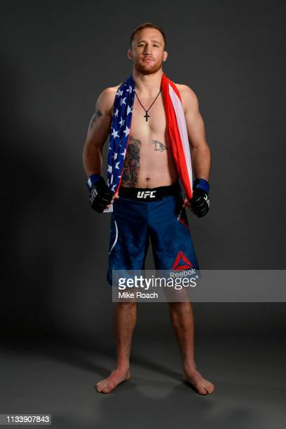 Justin Gaethje poses for a post fight portrait backstage during the UFC Fight Night event at Wells Fargo Center on March 30 2019 in Philadelphia...