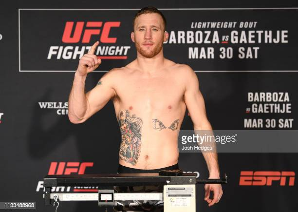 Justin Gaethje poses on the scale during the UFC Fight Night weighin at Crowne Plaza Wilmington North on March 29 2019 in Claymont Delaware