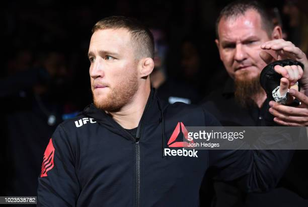 Justin Gaethje prepares to fight James Vick in their lightweight fight during the UFC Fight Night event at Pinnacle Bank Arena on August 25 2018 in...