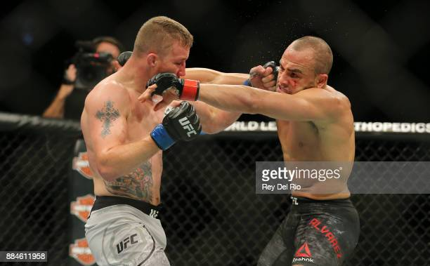 Justin Gaethje punches Eddie Alvarez during the UFC 218 event at Little Caesars Arena on December 2 2017 in Detroit Michigan