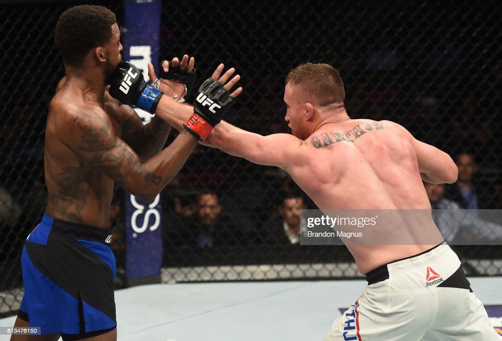 Justin Gaethje punches Michael Johnson after their lightweight bout during The Ultimate Fighter Finale at T-Mobile Arena on July 7, 2017 in Las Vegas, Nevada.