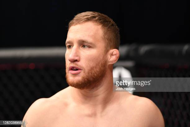 Justin Gaethje stands in his corner prior to his lightweight title bout against Khabib Nurmagomedov of Russia during the UFC 254 event on October 25,...