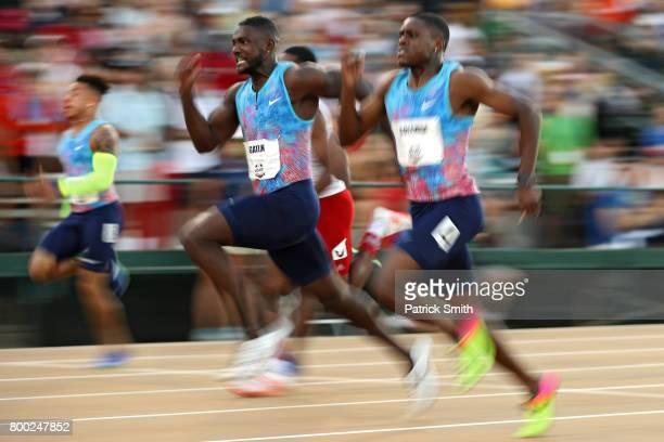 Justin Gatlin beats Christian Coleman to win the Men's 100m Final during Day 2 of the 2017 USA Track Field Outdoor Championships at Hornet Stadium on...