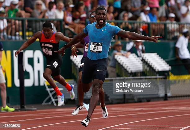 Justin Gatlin celebrates after crossing the finish line to win the Men's 200 Meter Dash final during day four of the 2015 USA Outdoor Track Field...
