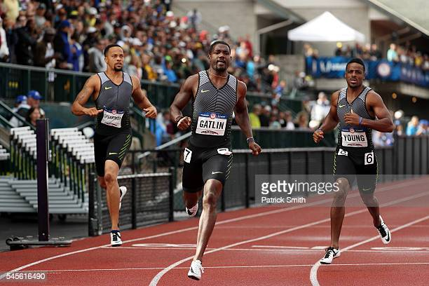 Justin Gatlin competes in the Men's 200 Meter SemiFinals during the 2016 US Olympic Track Field Team Trials at Hayward Field on July 8 2016 in Eugene...