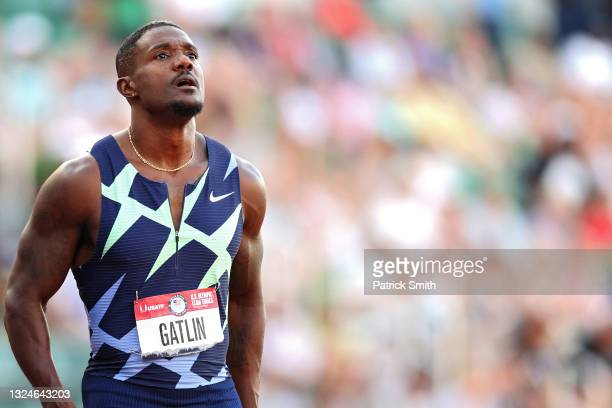Justin Gatlin looks on after the Men's 100 Meter Final on day 3 of the 2020 U.S. Olympic Track & Field Team Trials at Hayward Field on June 20, 2021...