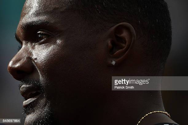Justin Gatlin looks on after the Men's 200 Meter SemiFinals during the 2016 US Olympic Track Field Team Trials at Hayward Field on July 8 2016 in...